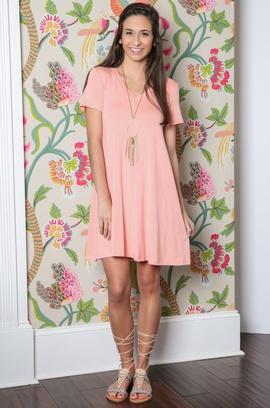 Solid Color V-neck Short-sleeved Dress  NSOY46160