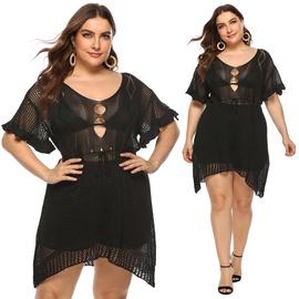 Plus Size Irregular Hollow Sexy Dress NSOY46162