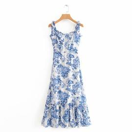 Blue And White Porcelain Long Sling Dress  NSAM46169