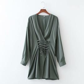 V-neck Drawstring Waist Mini Dress  NSAM46170