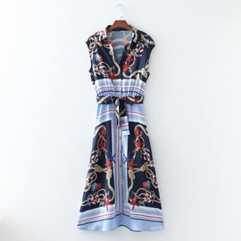 Floral Printed Strapped Breasted Sleeveless Dress  NSAM46172