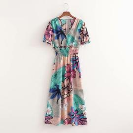 V-neck Elastic Waist Print Long Dress NSAM46176