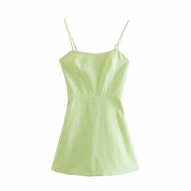 Solid Color Linen Sling Dress  NSAM46179