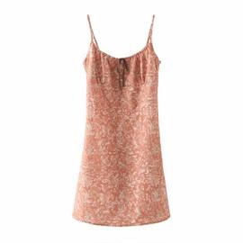 Sexy Flower Print Long Suspender Dress  NSAM46183