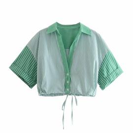 Stitching Striped Faux Silk Shirt  NSAM46188