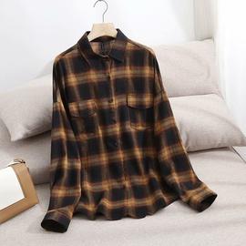 Plaid Lapel Loose Shirt  NSAM46202