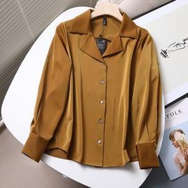 Suit Collar Satin Drape Shirt  NSAM46204