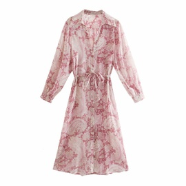 Breasted Strapped Print Long Shirt Dress NSAM46208
