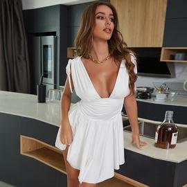 Sexy Deep V Sleeveless Pleated Short Dress NSZY46212