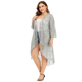 Plus Size Floral Embroidere Chiffon Cardigan NSOY46238