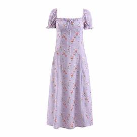 Retro Floral Square Neck Lace-up Dress  NSAM46257