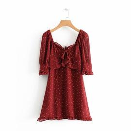 Temperament Puff Sleeve Bow Polka Dot Dress NSAM46258