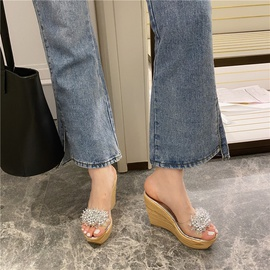 Pearl Decor Clear Wedges Sandals NSSO46286