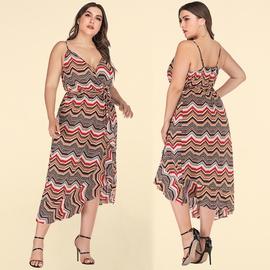 Plus Size Summer Printed V-neck Sling Dress NSJR46340