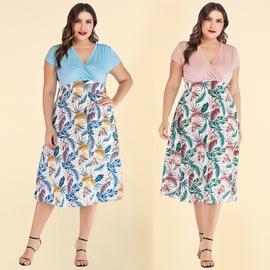 Plus Size Short-sleeved V-neck Chiffon Dress NSJR46342