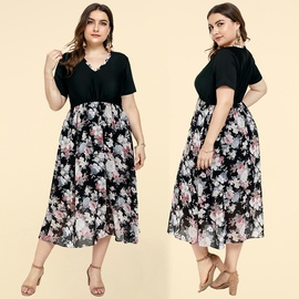 Plus Size Summer V-neck Dress NSJR46344