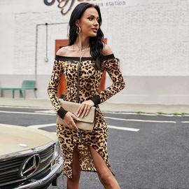 Long-sleeved Off-shoulder Leopard Print Dress  NSJR46350