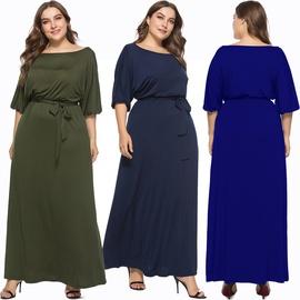 One-word Neck Stretch Lace-up Plus Size Dress NSLM46375