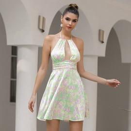 Tie-dye Printing Loose Halterneck Dress NSWX46438