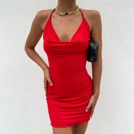 Halterneck Bag Hip Halter Slim Sexy Dress NSAG46445