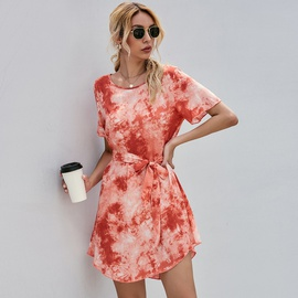 Tie-dye Printed Lace-up Waist Dress  NSGHY46517