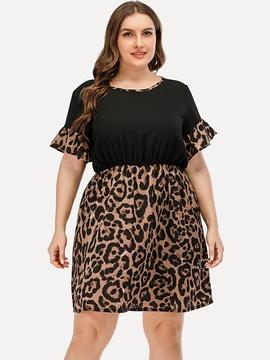 Leopard Print High Waist Plus Size Dress  NSGHY46518