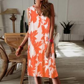 V-neck Sleeveless Tie-dye Dress  NSKL46620