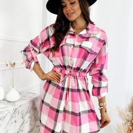 Fashion Waist Plaid Shirt Dress NSYF46630