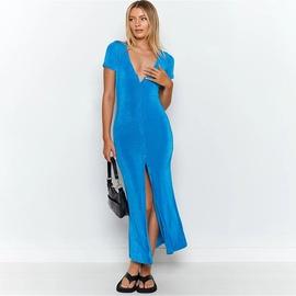 V-neck Solid Color Cardigan Dress NSFD46693