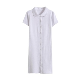 Fashion Collar Buttoned Short-sleeved Dress  NSHS46813