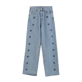 Printed Fashion High Waist Loose Denim Pants NSHS46817