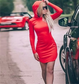 Sexy Hooded Long-sleeved Dress NSHS46824