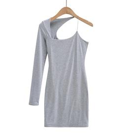 Oblique Shoulder Irregular Dress NSHS46834