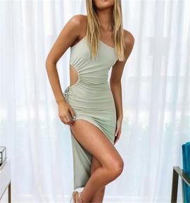 One-shoulder Stretch High Slit Suspender Dress NSHS46840