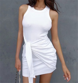 Sleeveless Knot Solid Color Dress NSHS46842