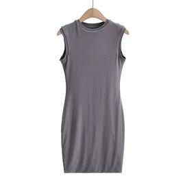 Round Neck Slim Fit Stretch Vest Dress  NSHS46850