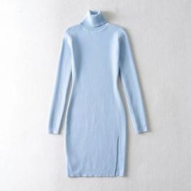 Long-sleeved High-neck Side Slit Knitted Dress NSHS46878