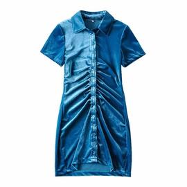 Pleated Single-breastedshort-sleeved Velvet Dress NSHS46895