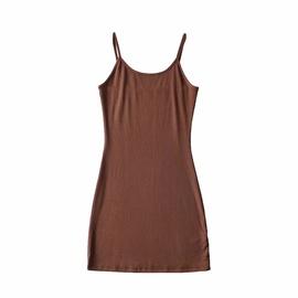 Round Neck Solid Color Slim Sling Dress NSHS46900