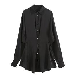 Loose-breasted Satin Shirt Shirt NSHS46952