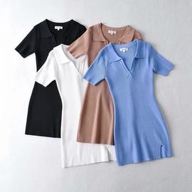 Lapel Front Slit Knit Elastic Solid Color Dress NSHS46962