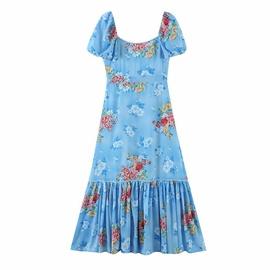 Peony Print Striped Lantern Sleeve Lace Dress  NSAM39272