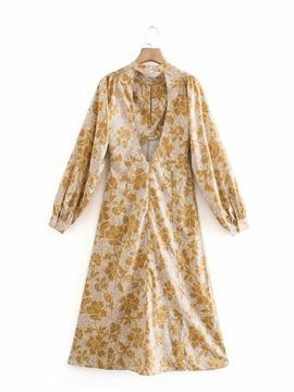 Printed Long Sleeve Dress  NSAM39275
