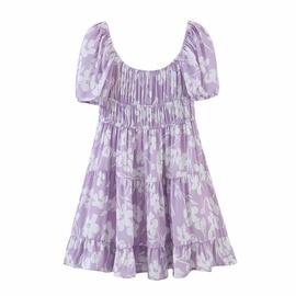 Purple Print Drawstring Puff Sleeve Dress  NSAM39277
