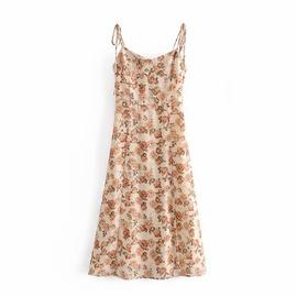 Retro Print Slit Sling Dress NSAM39280