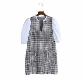 Puffy Short Sleeve Stitching Texture Dress  NSAM39283