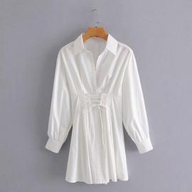 Waist Tie Pleated Long-sleeved Dress NSAM39298