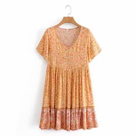V-neck Printing Short-sleeved Dress  NSAM39299