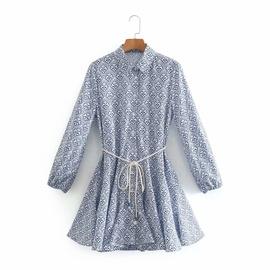 Waist Belt Printed Dress  NSAM39300