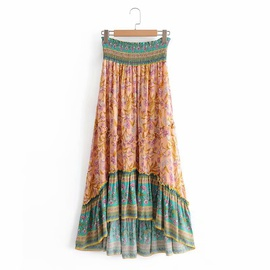 Printing Frill Trim Front Short Skirt  NSAM39301